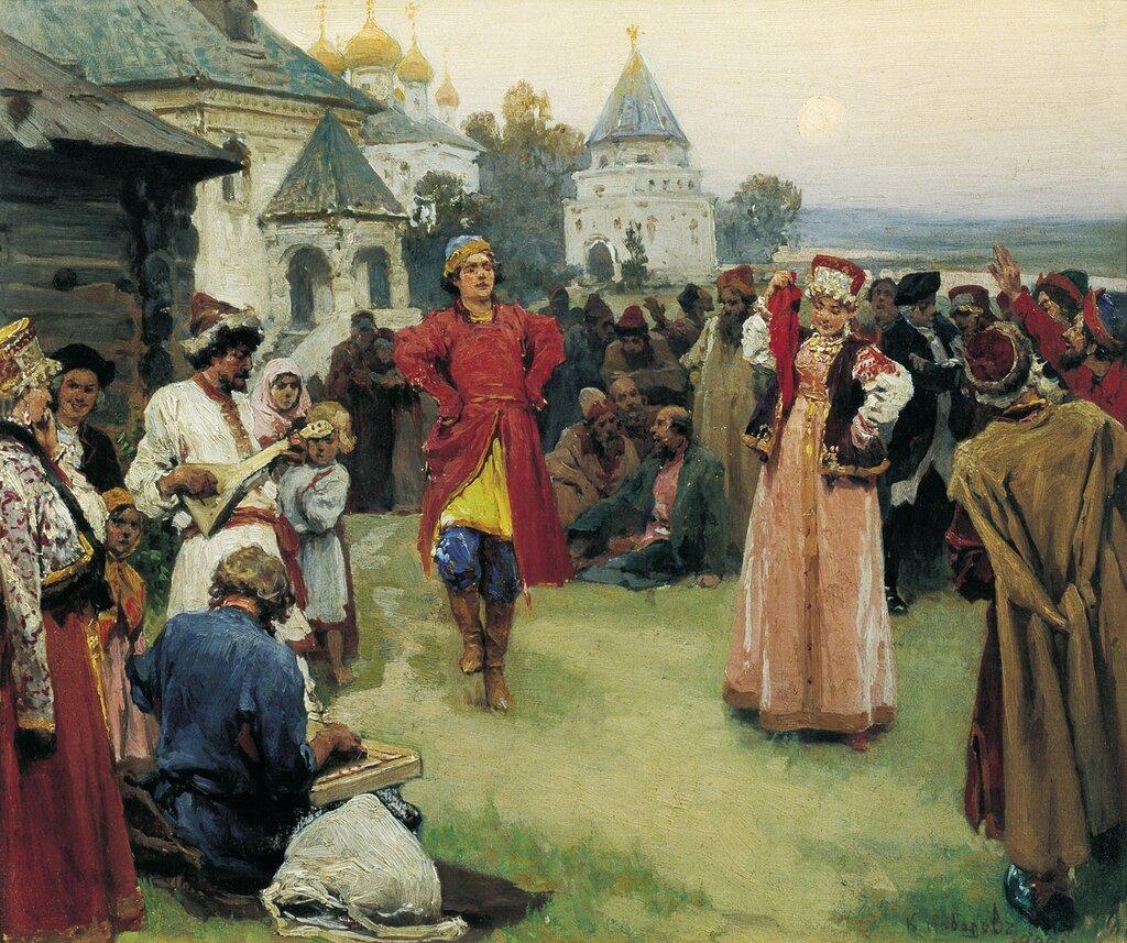 2 lebedev Dance. 1900. Oil on canvas. 26x31 cm. State Museum of Arts. A.Kasteyev the Republic ...jpg