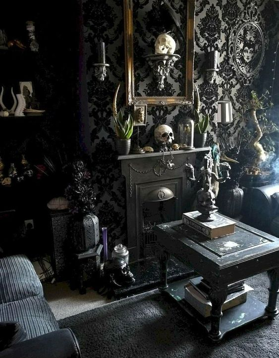 a-refined-Gothic-living-room-with-catchy-wallpaper-skulls-black-furniture-a-mini-fireplace-som...jpg