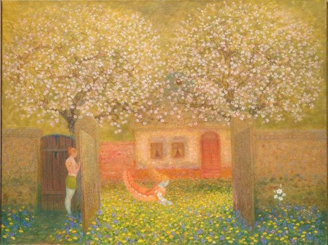 Andjeo lutalica medju maslaccima i belim radama, Jovan Sivacki,ulje na platnu,125X165cm, 2006.jpg