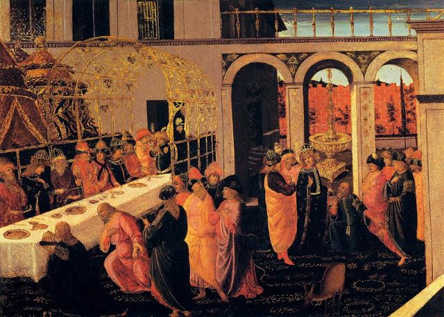 JACOPO del SELLAIO-The Banquet of Ahasuerus-1490-Tempera on panel-81 x 44 cm-Galleria degli Uf...jpg