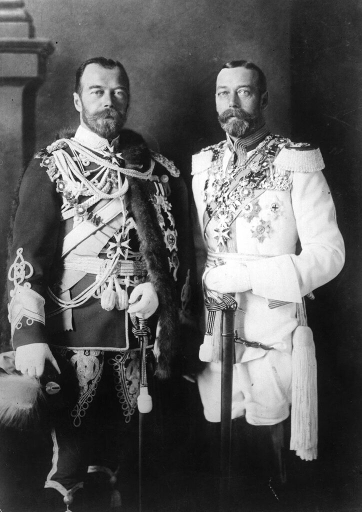 King George V and his physically similar cousin Tsar Nicholas II of Russia in German military ...jpg